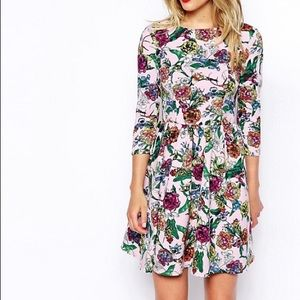 🌹3/$20 ASOS Skater Dress In Scuba Floral Print